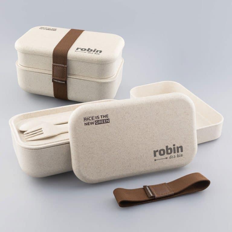 Boîte repas écologique personnalisée logo