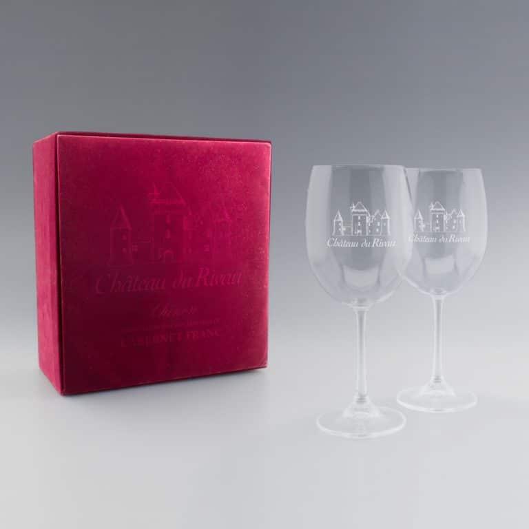Coffret 2 Verres à Vin avec logo gravure laser