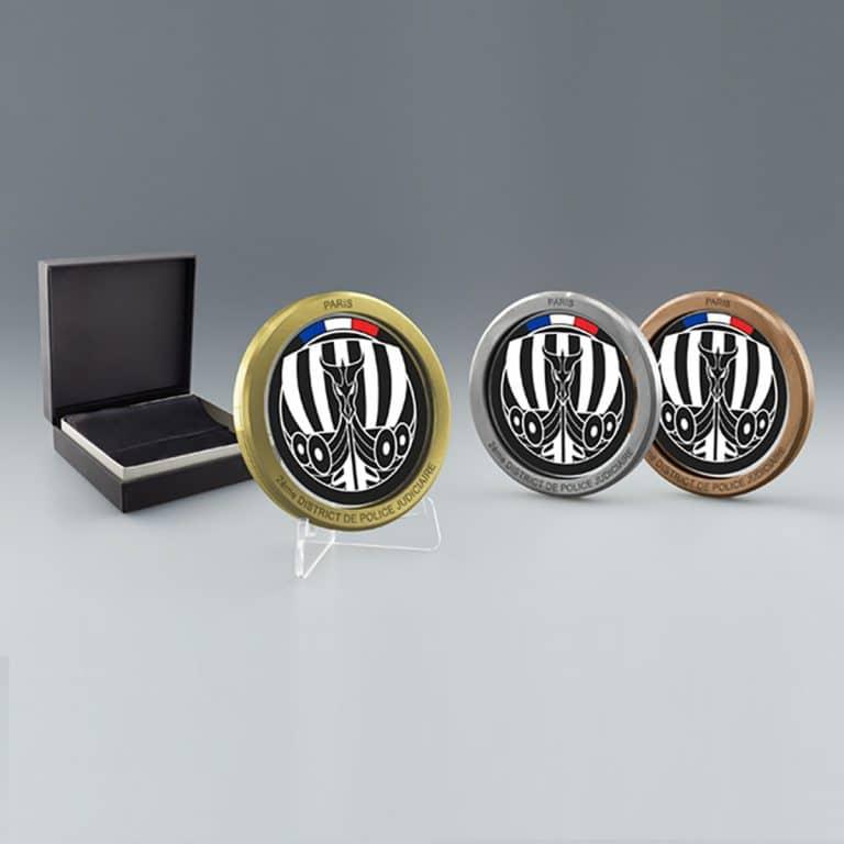 Médaille personnalisable argent avec boite cadeau