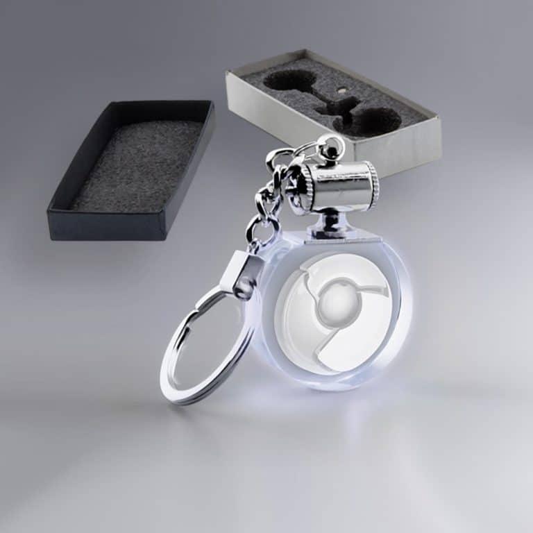 Porte clés rond en verre personnalisé lumière blanche