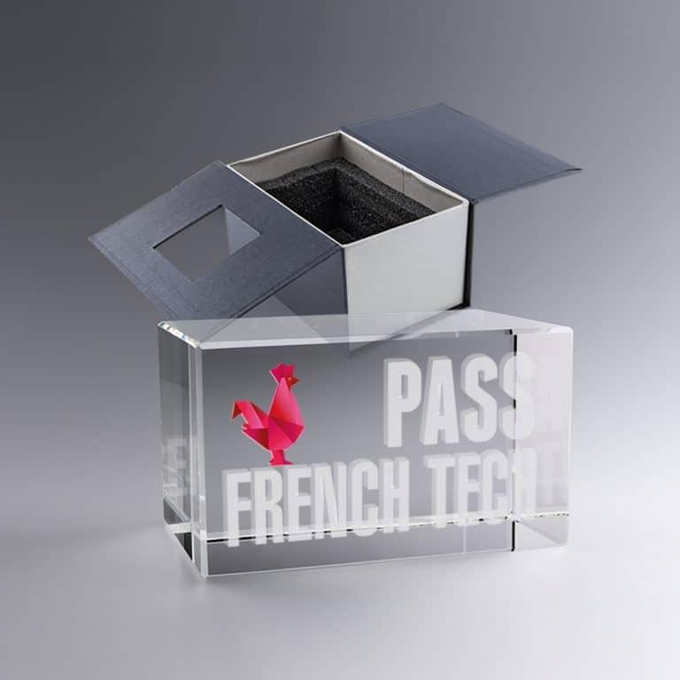 Trophée Bloc Verre 12 Cm Horizontal Gravé 3D impression Couleur