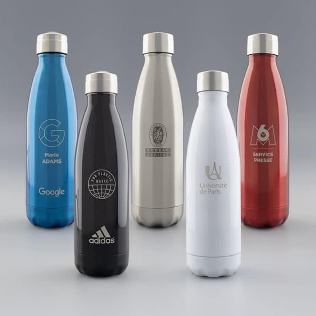 Bouteille Isotherme sans BPA Blanche, Gourde Ecologique Personnalisée