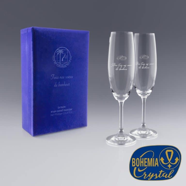 Coffret flutes à champagne gravure laser du logo