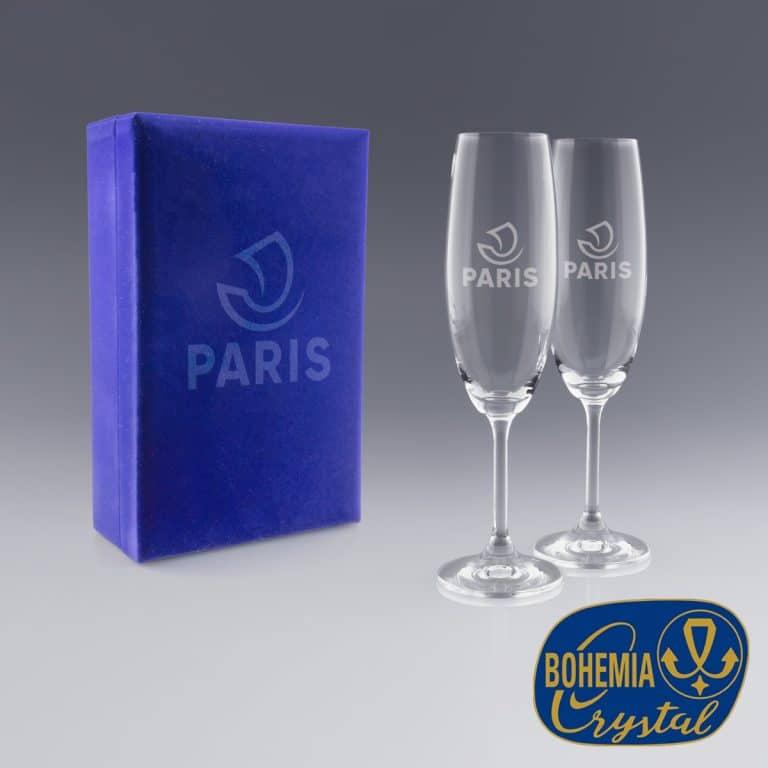 Coffret flutes à champagne logo gravure laser Zephyr Pro