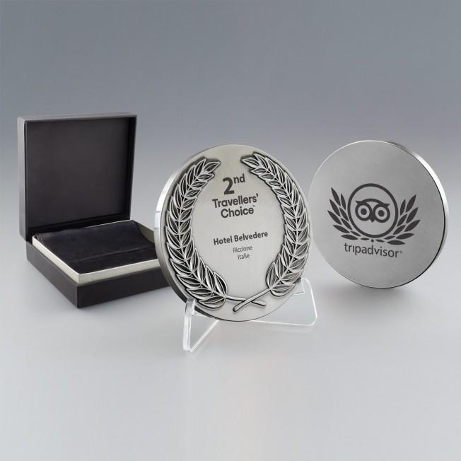 Médaille Argent Métal Personnalisée - Couronne De Laurier