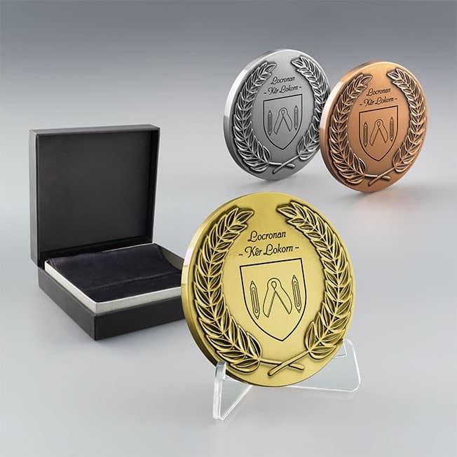 Médaille Couronne de Laurier à personnaliser argent, Médaille argent cadeau entreprise original
