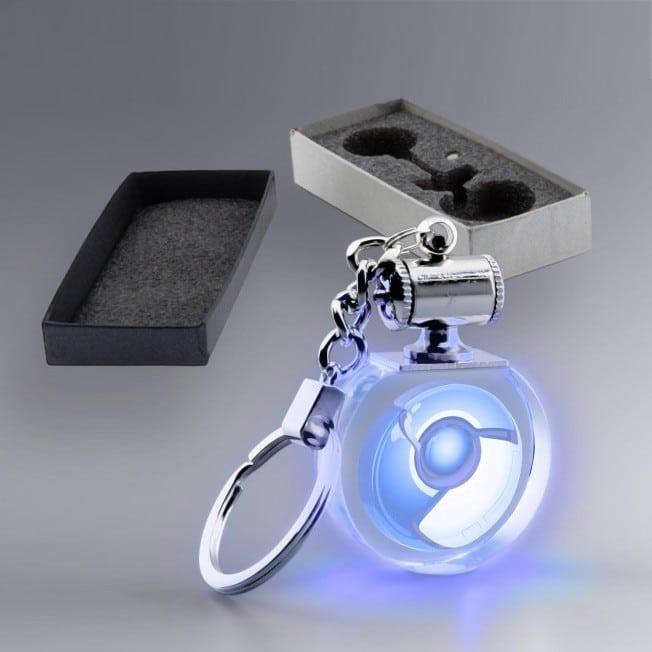 Porte clés rond en verre personnalisé lumière bleue
