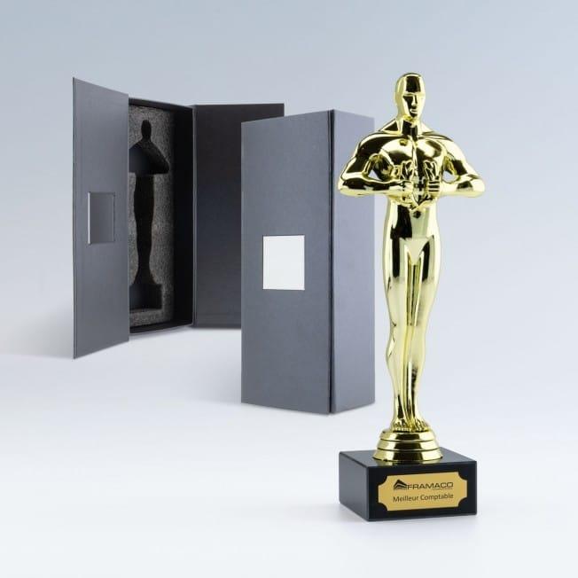 statuette oscar personnalisable boîte cadeau, trophée personnalisé, statuette récompense