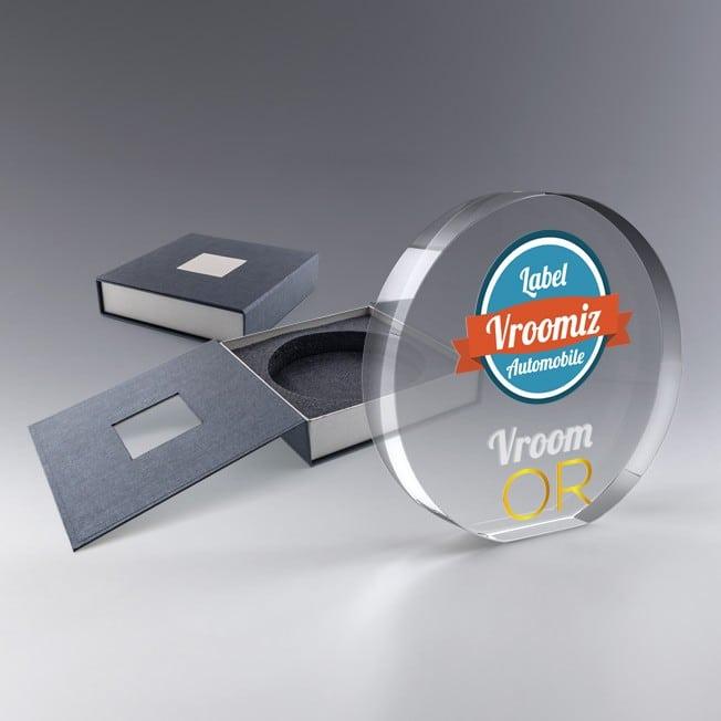 trophée en verre rond personnalisé couleurs