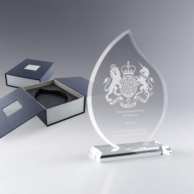 Trophée Verre Flamme à Personnaliser avec gravure logo laser