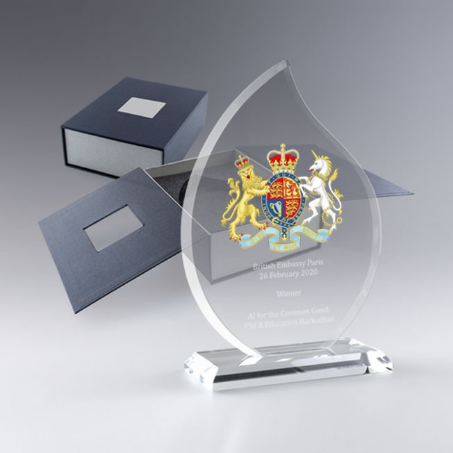 Trophée en verre Flamme, trophée personnalisé