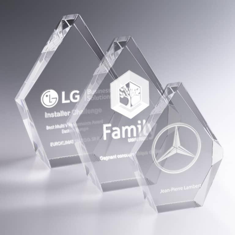 Trophée Prestige Verre 19 cm Personnalisé 3D Design