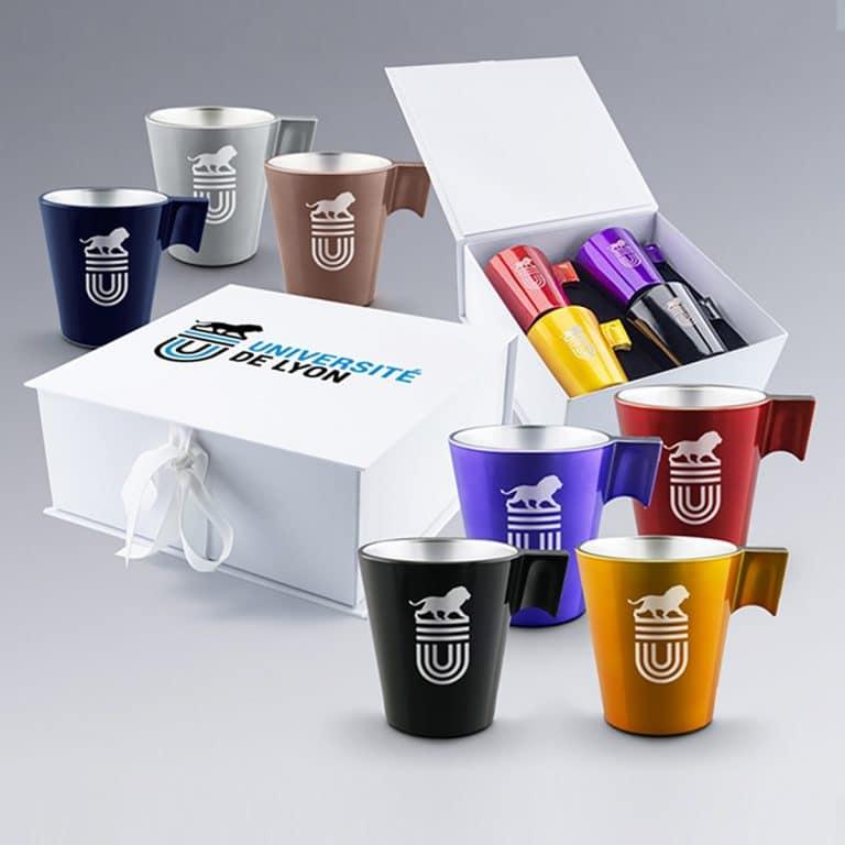 Coffret Cadeau d'affaires 4 Mugs à Personnaliser par Zephyr Pro