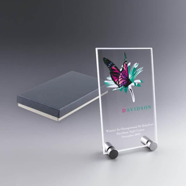 Plaque de Verre 15 cm Verticale Trophée à Personnaliser Gravure ou Couleur