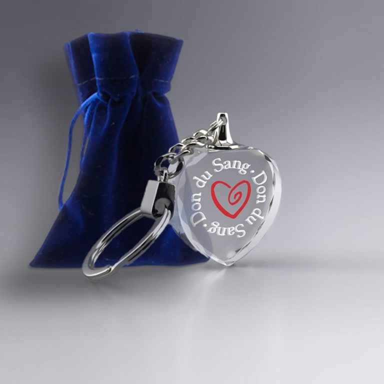 Porte Clé Coeur en Verre Optique à Personnaliser Logo