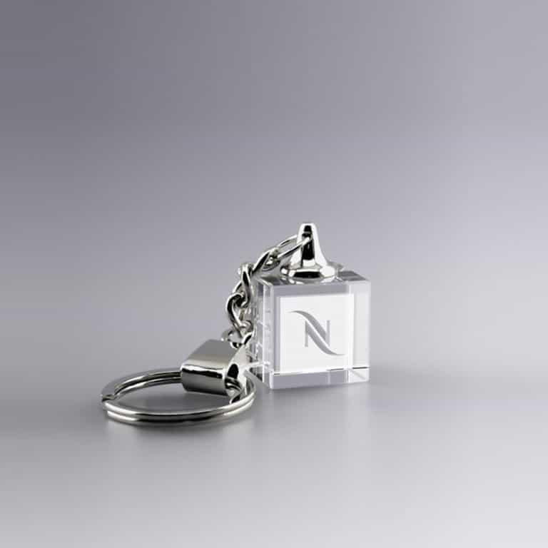 cadeau publicitaire porte-clés en verre