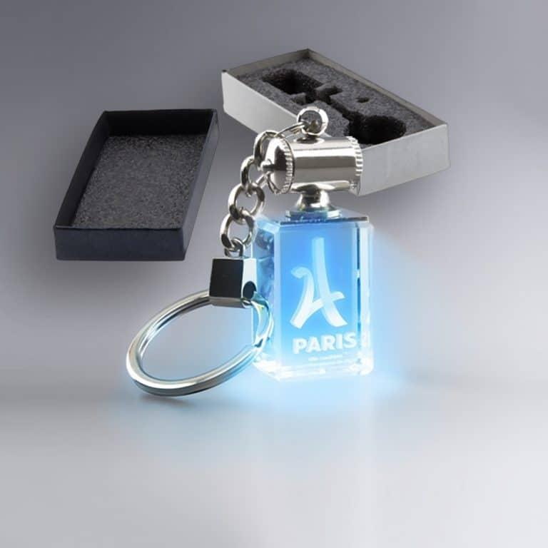 Boite Cadeau Porte Clé Rectangulaire Lumineux Bleu Verre Gravé