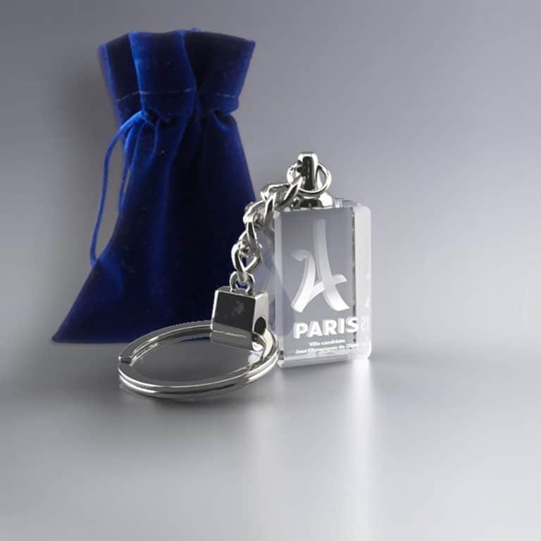 Porte clés rectangulaire en verre personnalisé