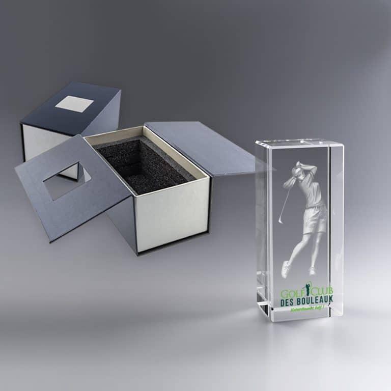 Boite cadeau trophée en verre gravé 6 x 9 cm