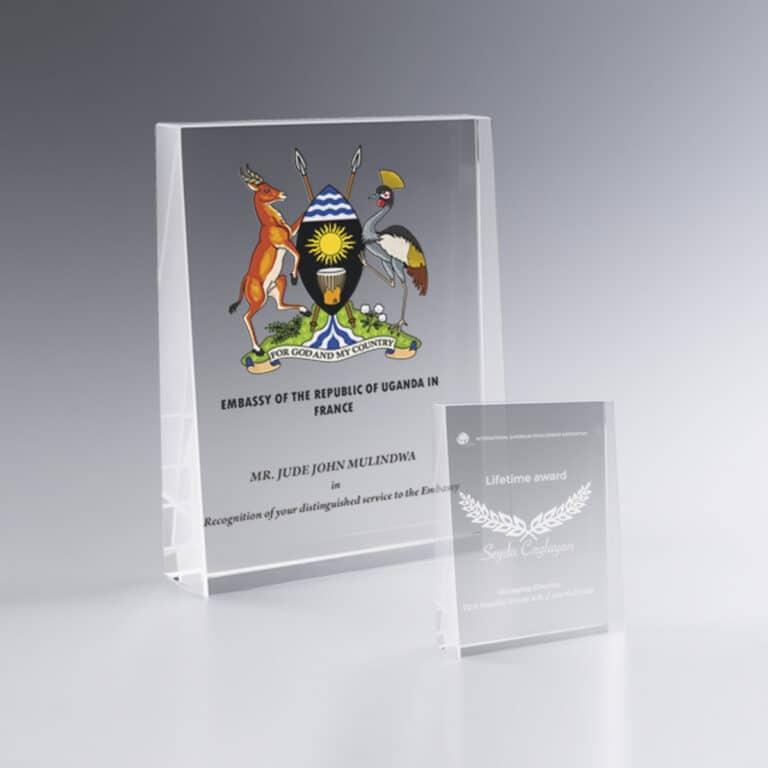 Trophée en verre personnalisé, trophée à graver ou en couleur