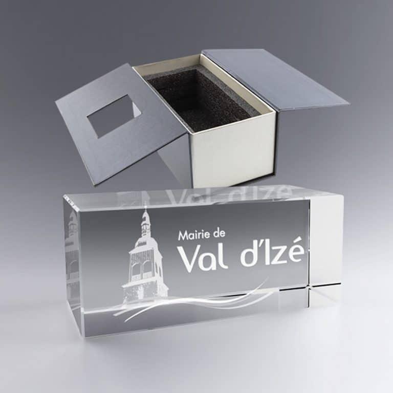 Boite Cadeau Grand Trophée Bloc Verre Horizontal 30 Cm Cadeau Entreprise