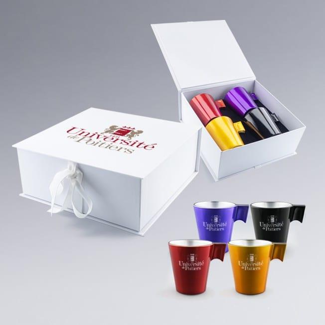 Coffret cadeau à personnaliser 4 tasses en verre, cadeau logo