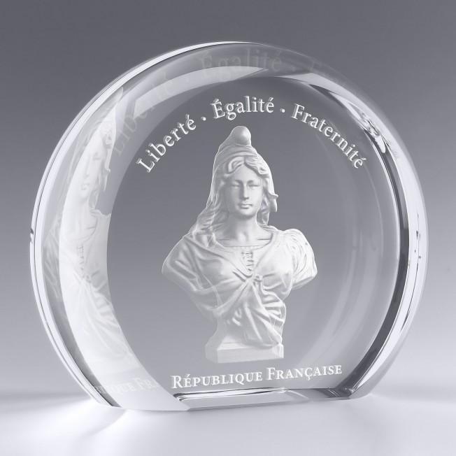 Trophée Rond Verre à Personnaliser Collection Marianne