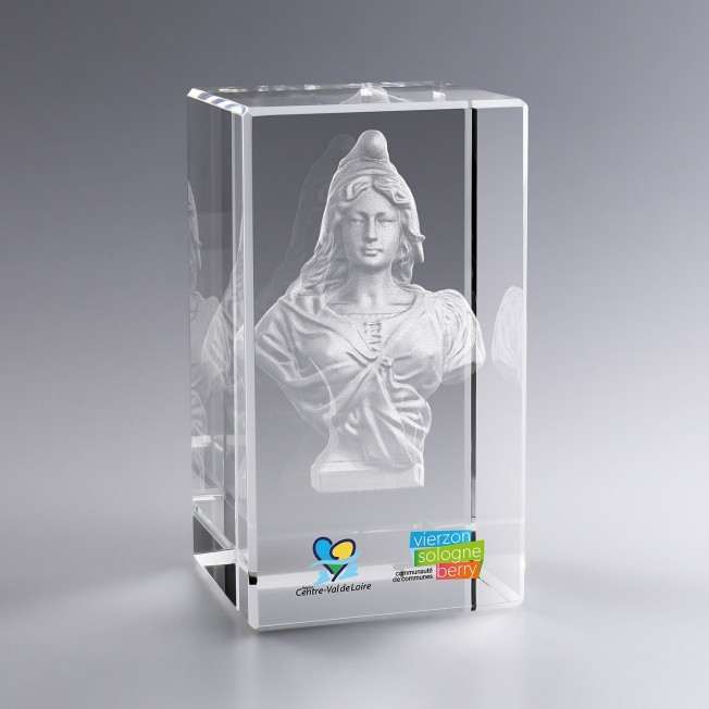 Collection Marianne - Trophée Bloc Verre 12 Cm Gravé 3D Et/Ou Couleur