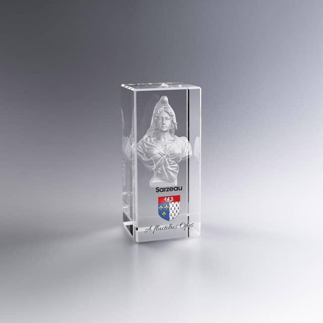 Collection Marianne - Trophée Bloc Verre 7 cm Gravé 3D et/ou Couleur