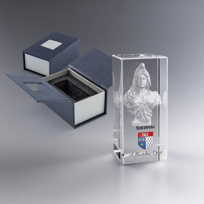 Collection Marianne - Trophée Bloc Verre 9 Cm Gravé 3D Et/Ou Couleur