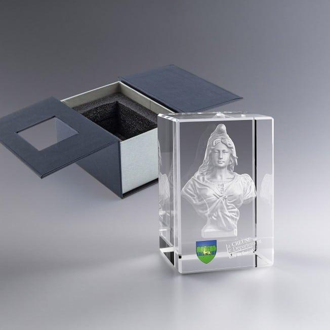 Collection Marianne - Trophée Bloc Verre 8 Cm Gravé 3D Et/Ou Couleur