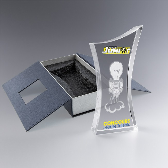 Boite cadeau élégant trophée en verre personnalisé