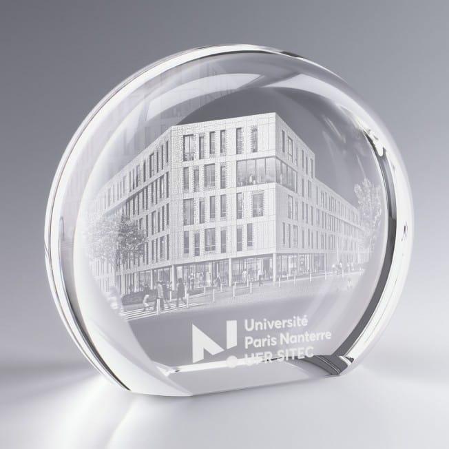 Grand Trophée Verre Rond Personnalisé avec Logo