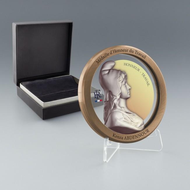 Médaille d'honneur du travail bronze, Prix medaille du travail 30 ans, Médaille personnalisée verre et métal