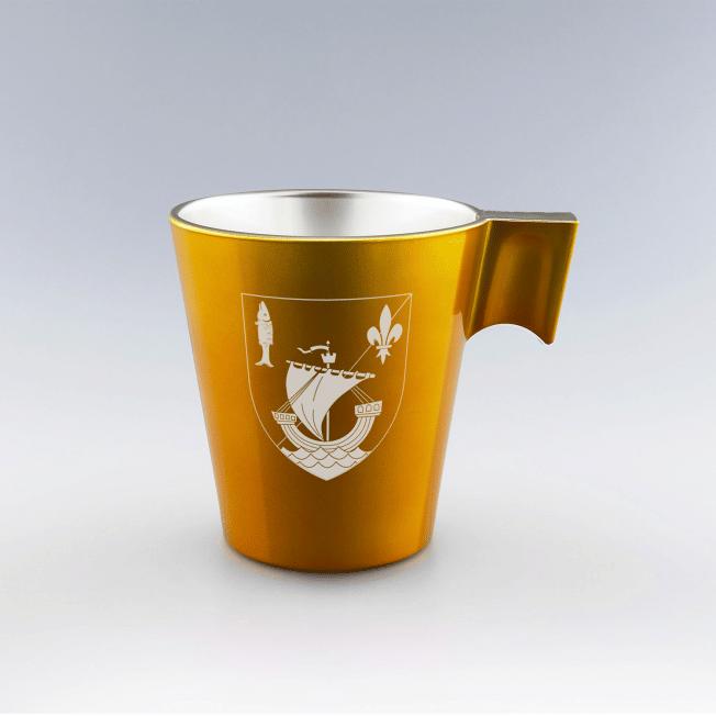 Mug personnalisé orange rouge violet noir, mug design, mug en verre