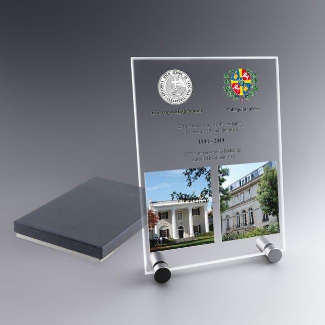 Plaque de verre verticale 18 cm, trophée personnalisable