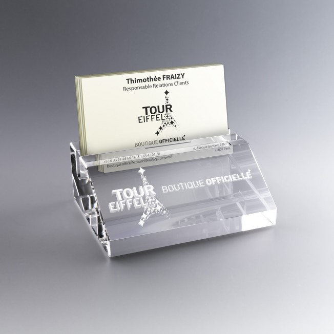 Porte Cartes de Visite Verre Optique Gravé ou Couleur