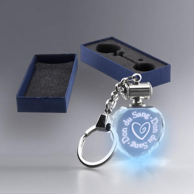 Boite Cadeau Porte Clé Coeur Lumineux Bleu Verre Gravé