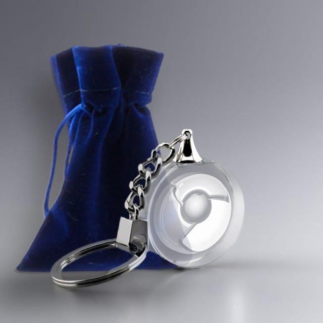 Pochette Suédine Cadeau Porte clé rond en verre personnalisé