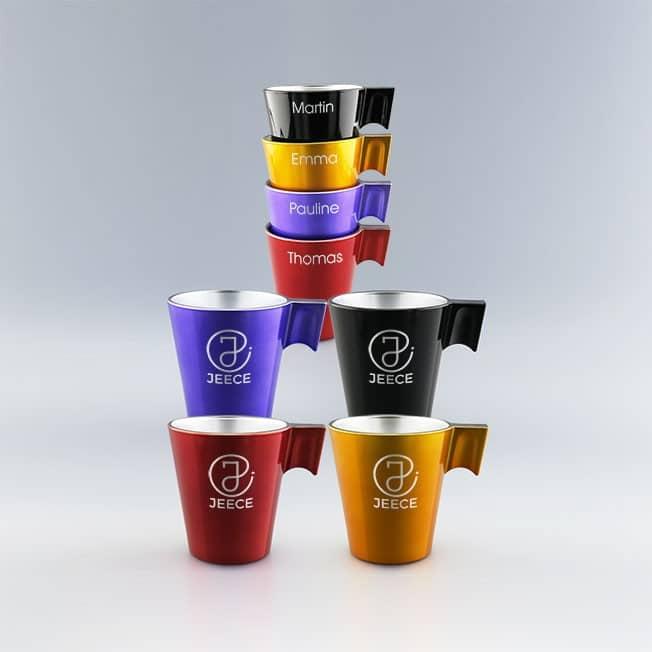 Set de 4 Tasses expresso colorées à personnaliser