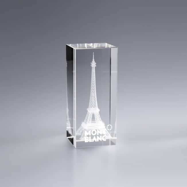 Boite cadeau trophée en verre personnalisé 7 x 3 cm vertical