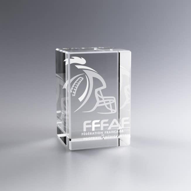 Trophée Verre Vertical 18 x 12 Cm Personnalisé 3D