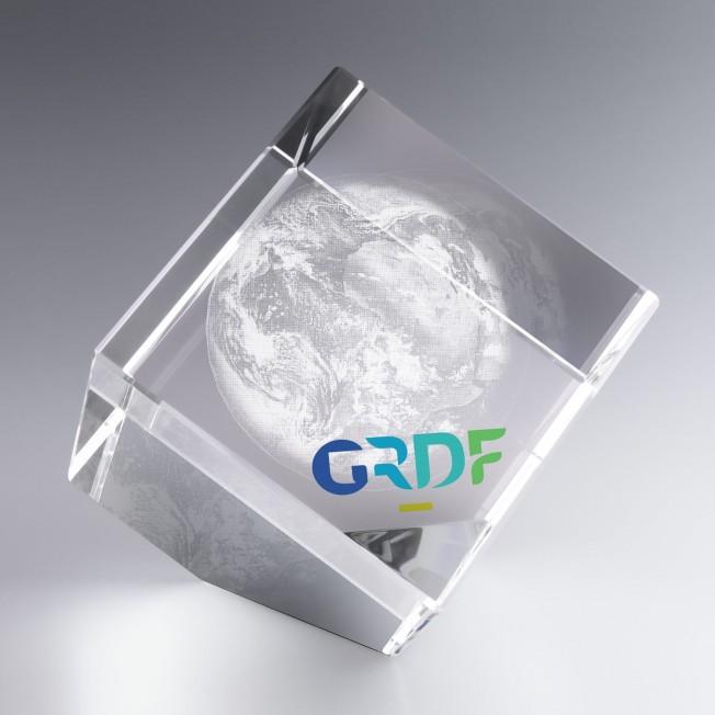 Trophée Cube Verre Pan Coupé 10 cm à Personnaliser pour cadeaux d'affaires