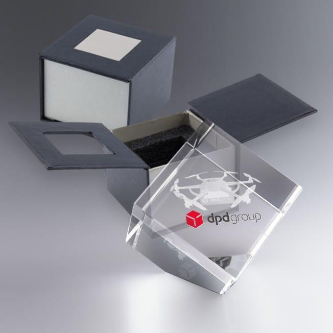 Trophée Cube Verre Pan Coupé 8 et 10 cm à Personnaliser