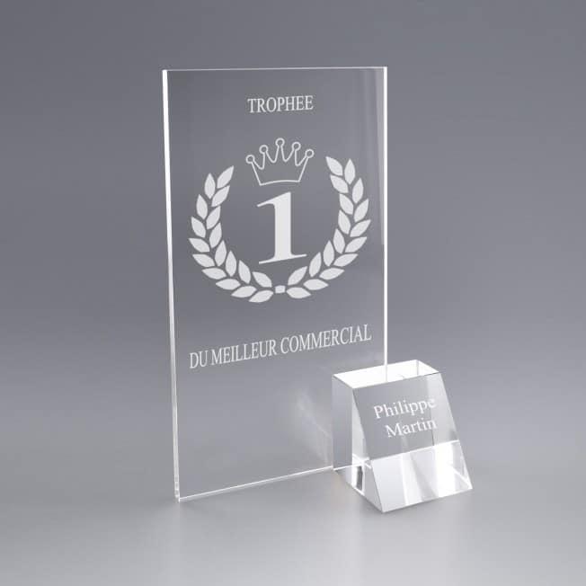 Boite Cadeau Trophée Podium Verre Gravé Personnalisé Logo et texte
