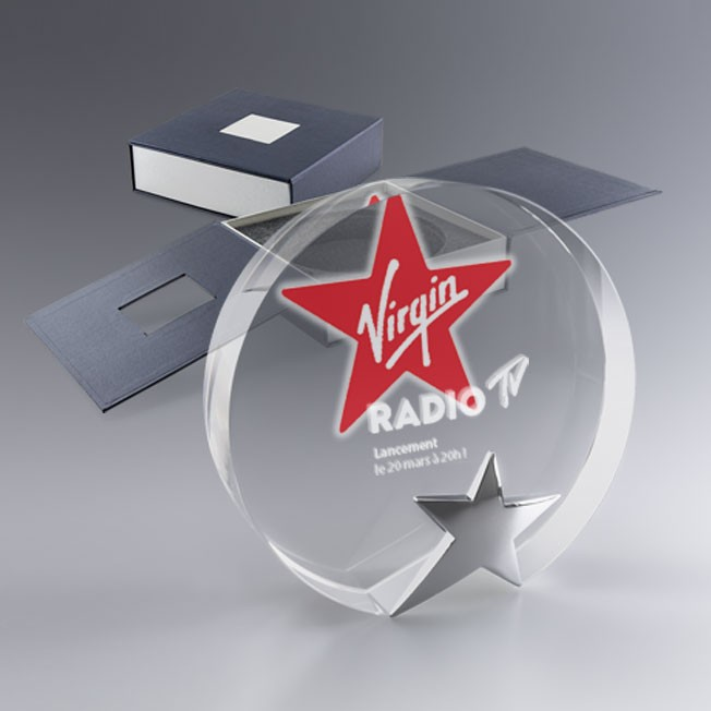 Trophée rond Star avec votre logo couleur ou gravé au laser