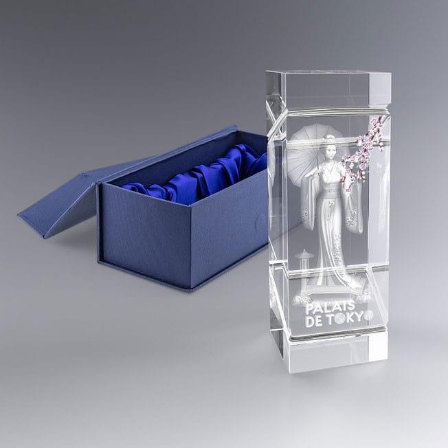 Trophée Verre Finition Argent 7 x 20 cm Personnalisable