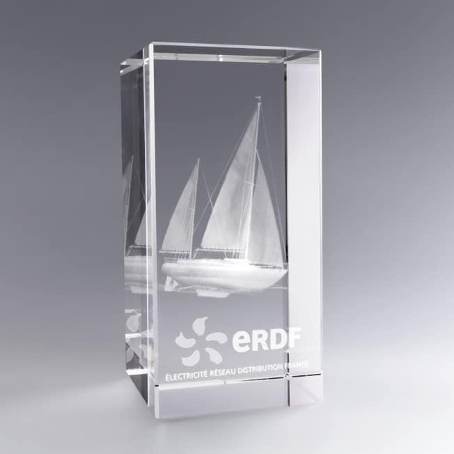 Trophée Verre Optique Vertical 30 cm à Personnaliser Gravure 3D et/ou couleur