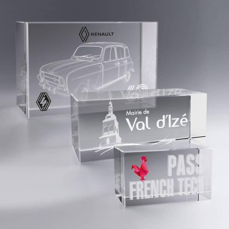 Trophée Bloc Verre Horizontal 12 et 18 cm à Personnaliser
