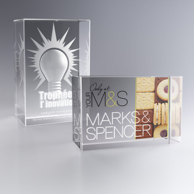 Trophée cadeau bloc en verre marquage couleur et/ou gravure laser